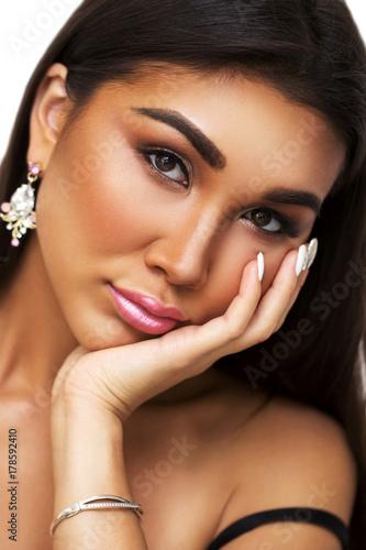 45df4729552 Close-up portrait of beautiful dark-skinned brunette girl.