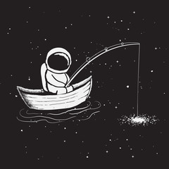 Astronaut sits in boat and catches a stars through fishing rod from galaxy.Childish vector illustration.Hand drawn prints design.