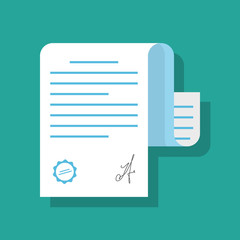 Paper document confirmed by seal or stamp and signature. Illustration of a document in flat style with shadow isolated on colored background.