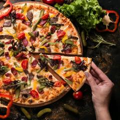food photography art. pizza recipe. restaurant menu concept