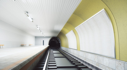 Modern yellow metro station with billboard