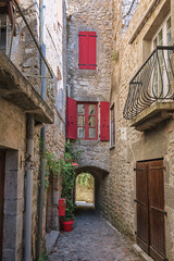 Old subpass in the village Labeaume in the Ardeche region of France
