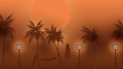 Beach Walkway at Night with Moonlight and Palm Trees  - Vector Illustration.