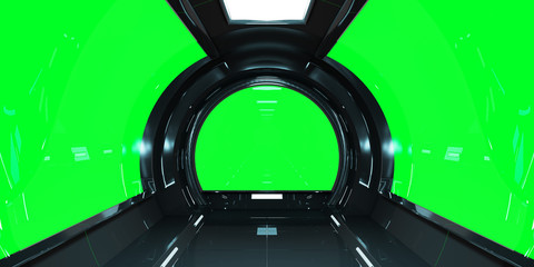 Fototapete - Spaceship dark interior 3D rendering