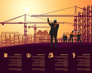 foreman in a white helmet talking on walkie talkie on construction site