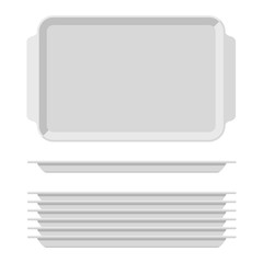 White blank food tray set with handles. Rectangular kitchen salvers isolated on white background. Plastic tray for canteen illustration, top view plate rectangle stack. Vector illustration