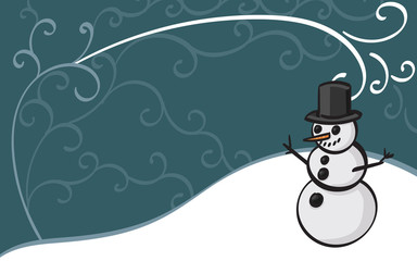 Snowman wearing a top hat with a winter themed filigree background.
