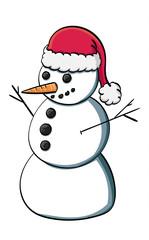 Snowman wearing a Santa Hat.