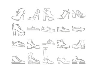 set of man and woman shoes vector icons Wall mural