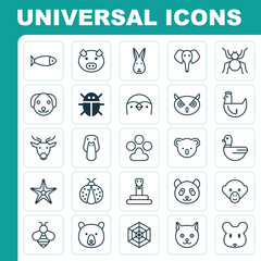 Animal Icons Set. Collection Of Diver, Moose, Grizzly And Other Elements. Also Includes Symbols Such As Serpent, Reindeer, Hare.