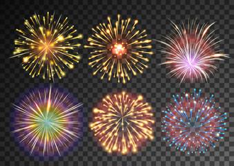 Fireworks isolated against black transparent background