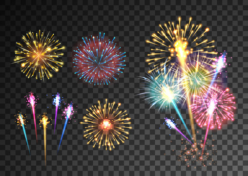 Fireworks isolated on dark transparent background