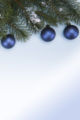 branches of Christmas trees and blue balls on a blue background. Copy Space