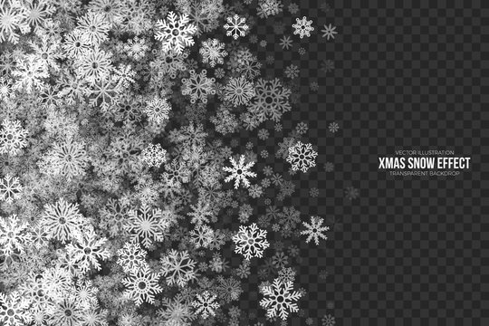 Vector Xmas Snow Effect with White Realistic Flying Snowflakes Overlay on Transparent Background. Merry Christmas Illustration. Winter Season Design Element