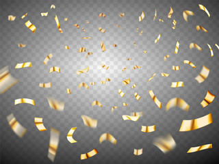 Confetti explosion on transparent background. Gold metal realistic scattered confetti. Many falling tiny confetti pieces. Celebration background with confetti