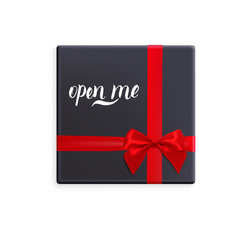 Black gift box with red ribbon and bow. Vector illustration with isolated design elements. Letterig open me