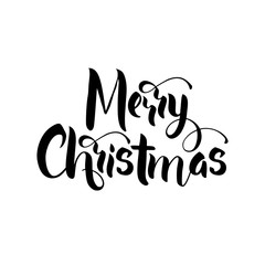 Lettering Merry Christmas. Merry Christmas greeting card