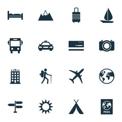 Traveling Icons Set. Collection Of Land, Traveler, Building Elements. Also Includes Symbols Such As Mastercard, Hot, Kip.
