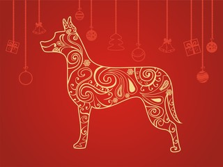 stylized dog with ornament greeting card new year and Christmas