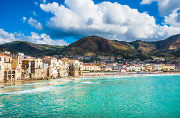 Beautiful bay of Cefalu town, panoramic view of  harbor and old houses in Cefalu, province of Palermo, Sicily.