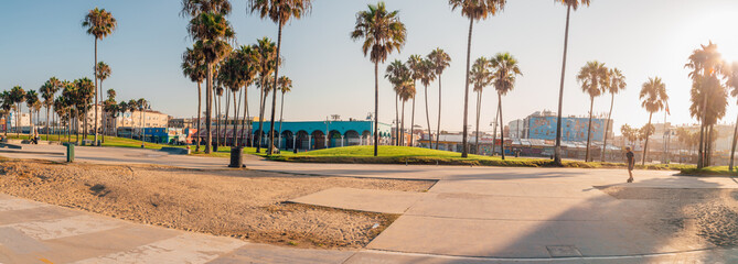 Panoramic view at the Venice beach during morning sunrise from the skatepark.