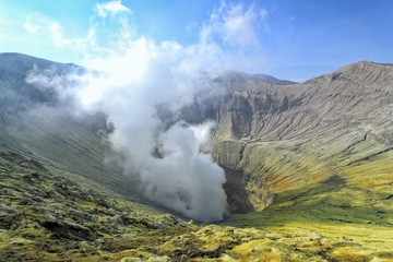 Crater Bromo active volcano in Indonesia