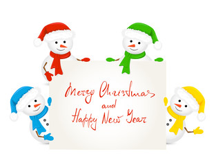 Snowmen holding card with text Merry Christmas and Happy New Year