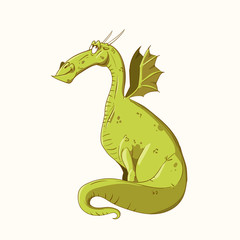 Colorful vector illustration of a cartoon green dragon, happy and smiling.