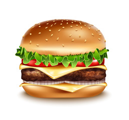 Vector Realistic Hamburger icon. Classic Burger American Cheeseburger with Lettuce Tomato Onion Cheese Beef Close up isolated on white Background. Fast Food. Beef meat and fresh organic vegetables