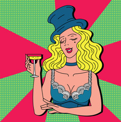 Toast girl party pink retro background pop art retro vector. Celebration and party. Alcohol drink.Vintage cabaret woman with champagne in hat and lingerie. Cheers toast celebration woman