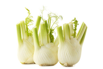 Ripe fennel bulbs isolated on white background
