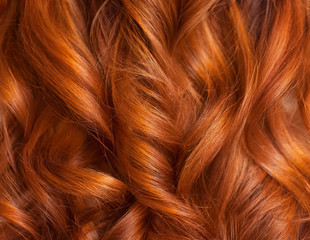 Beautiful, healthy, long, curly, red hair close up.  Create curls with curling irons. Professional hair care.