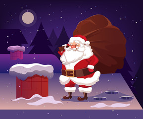 Happy smiling Santa Claus character on roof holding big bag gifts. Marry Christmas and Happy New Year banner. Vector flat cartoon illustration