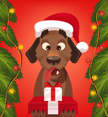Marry Christmas and Happy New Year dog character with Santa Claus hat holding gift boxes. Vector flat cartoon illustration