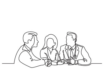 continuous line drawing of doctors concilium