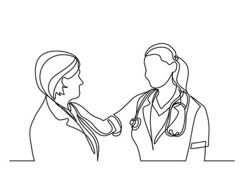 continuous line drawing of doctor and woman patient talking