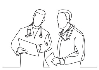 continuous line drawing of doctors discussing diagnosis