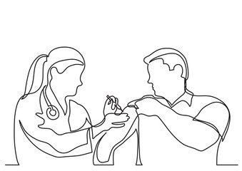 continuous line drawing of doctor making vaccination shot to man