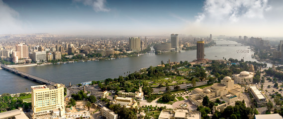 Panoramic view of modern town from Cairo Tower situated on the Gezira island, Egypt