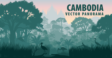 vector panorama of Cambodia with crocodile, herons and ibis in jungle rainforest wetland Wall mural