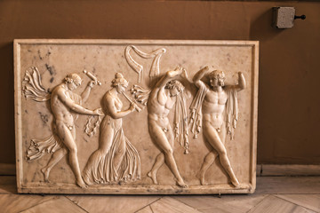 Marble Carved Panel in the Achilleion Palace on the Greek Island of Corfu