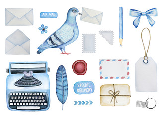 Big mail set of defferent postal elements. Various envelopes, pigeon bird, postage stamps, typewriter, parcel, stickers, stationery, tags, postal ornament, wax seal, arrows, forget-me-not flower, bow.