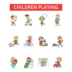 Children playing illustration, thin line icons, linear flat signs, outline pictograms, vector symbols set, editable strokes