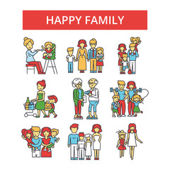 Happy family illustration, thin line icons, linear flat signs, outline pictograms, vector symbols set, editable strokes