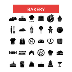 Bakery illustration, thin line icons, linear flat signs, outline pictograms, vector symbols set, editable strokes