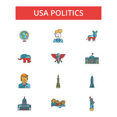 Usa politics illustration, thin line icons, linear flat signs, outline pictograms, vector symbols set, editable strokes