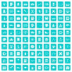 100 school icons set grunge blue