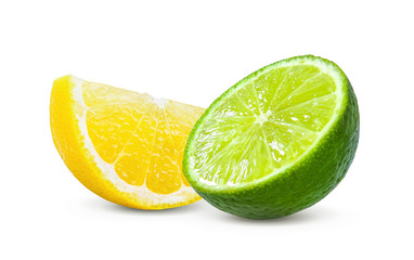 Slice of lemon and lime fruit isolated on white background