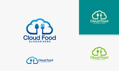 Cloud Food logo template, Online Food logo designs vector