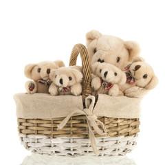 Group stuffed bears in basket